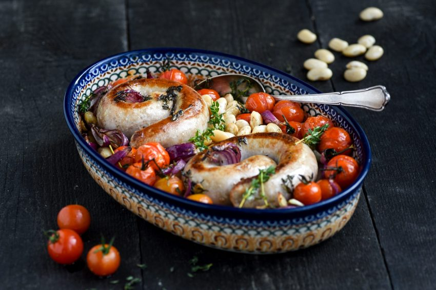 White beans casserole with sausage