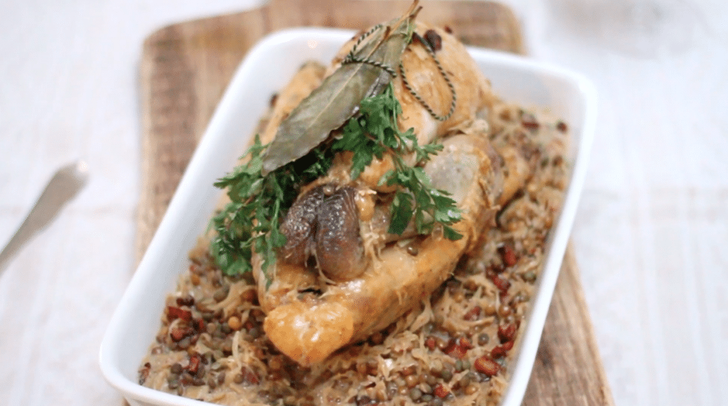 Guinea fowl with sauerkraut and lentils, Made by Ellen