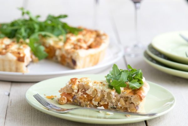 Chickpea quiche with pumpkin and feta